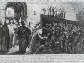 La caverna de Platón. Grabado en 1604 por Jan Saenredamsobre un dibujo de Cornelis Cornelisz. Fitzwilliam Museum, Cambridge.