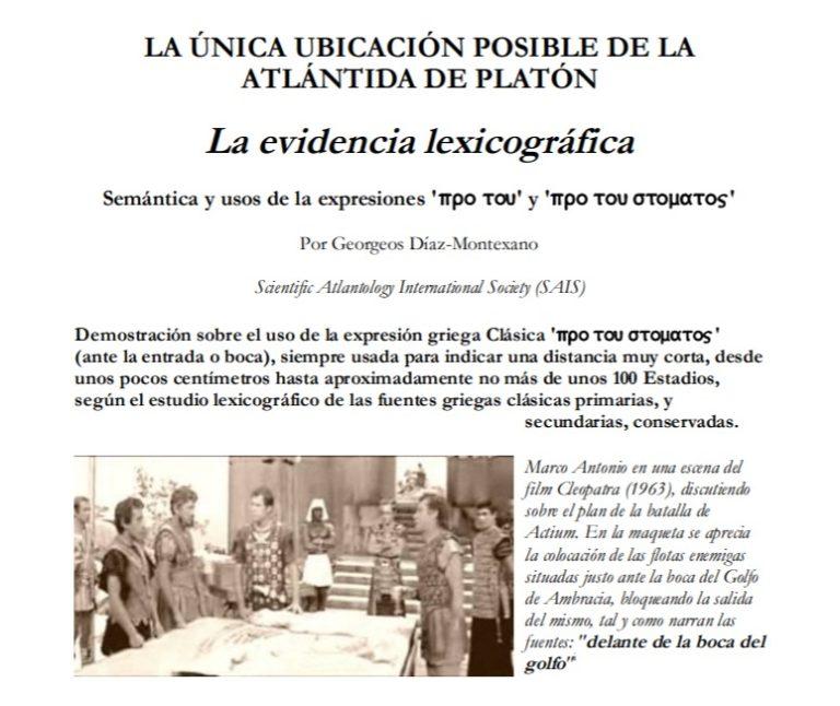 LA ÚNICA UBICACIÓN POSIBLE DE LA ATLÁNTIDA DE PLATÓN. La evidencia lexicográfica.