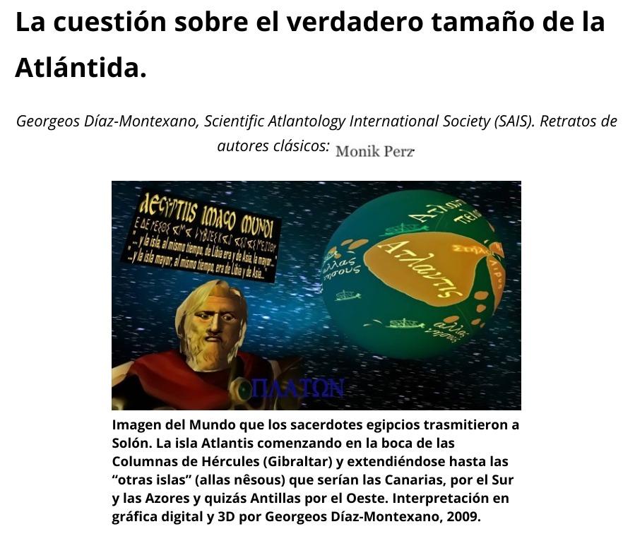 Georgeos Díaz-Montexano: La cuestión sobre el verdadero tamaño de la Atlántida.