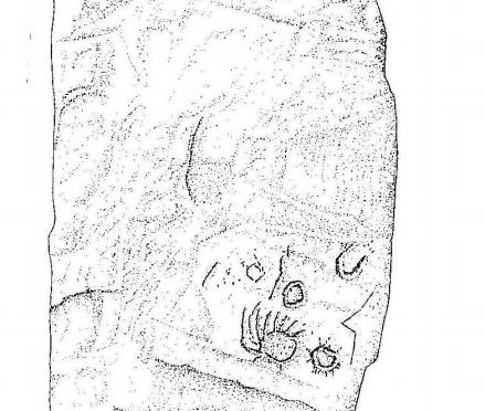 Inscripción en sistema de Escritura Lineal Atlántica (ELA) en el un dolmen de Extremadura
