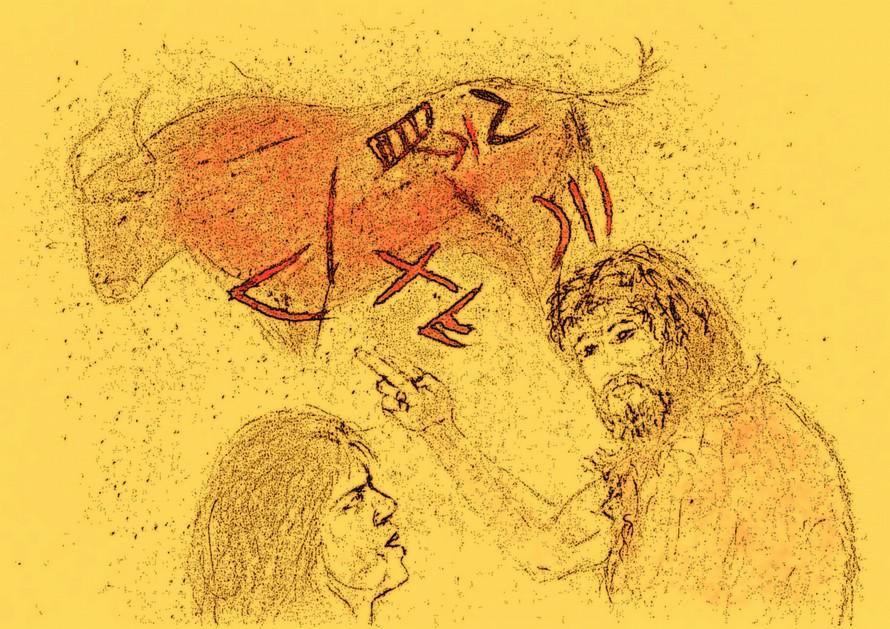 Recreación de un chamán o maestro instruyendo en el arte de la escritura. Boceto del autor, 2014.