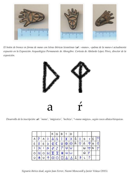Un botón íbero de bronce en forma de mano como posible evidencia epigráfica de un término proto-vasco o talismán íbero-altaico