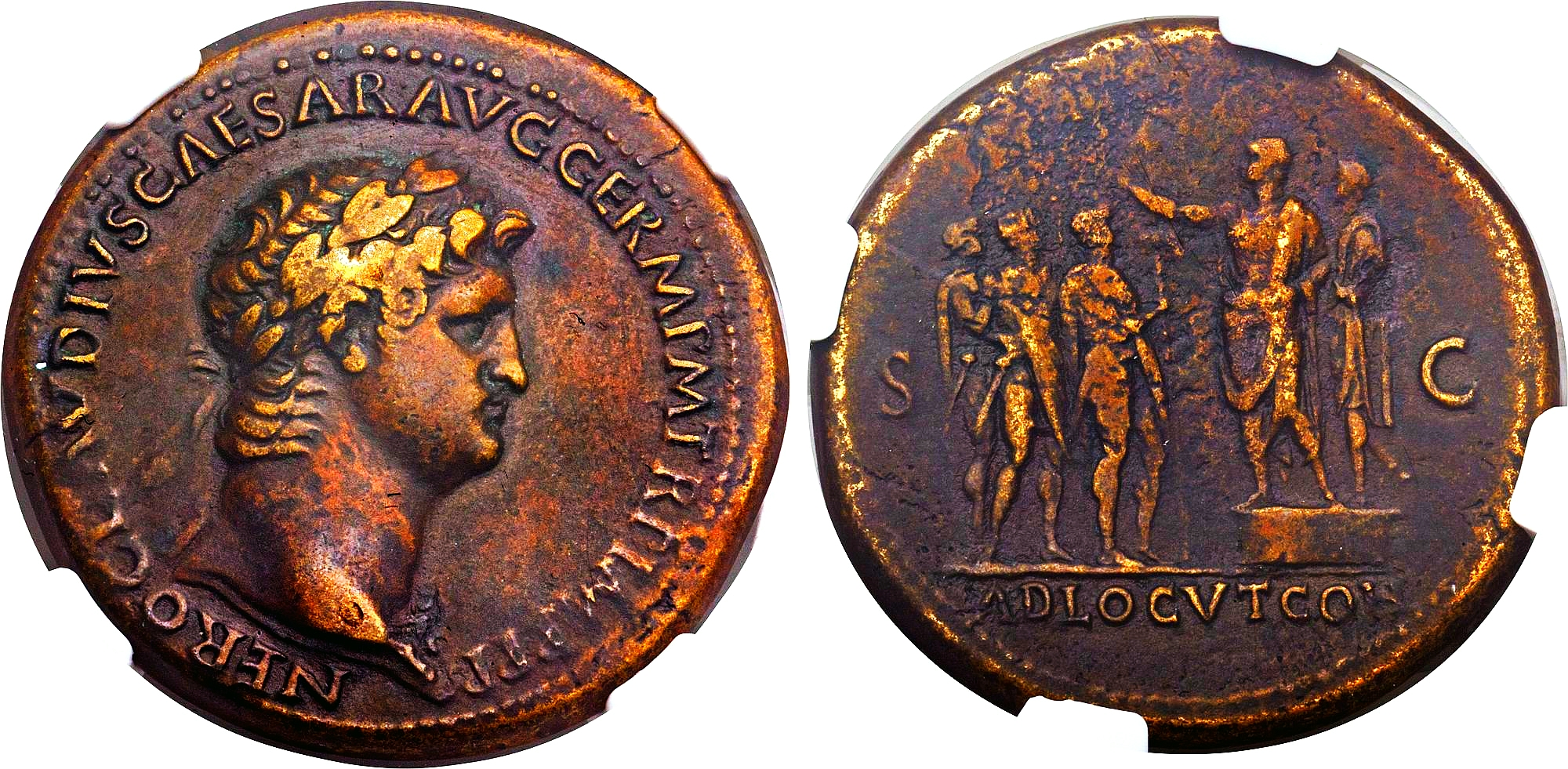 Moneda romana de oricalco.