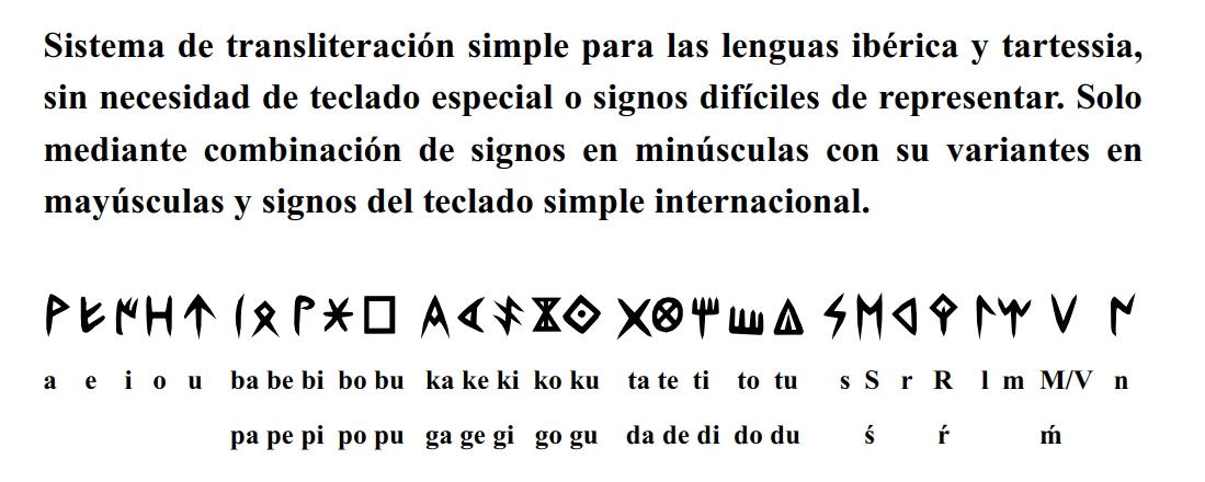 Sistema de transliteración simple para las lenguas ibérica y tartessia, sin necesidad de teclado especial o signos difíciles de representar. Solo mediante combinación de signos en minúsculas con su variantes en mayúsculas y signos del teclado simple internacional.