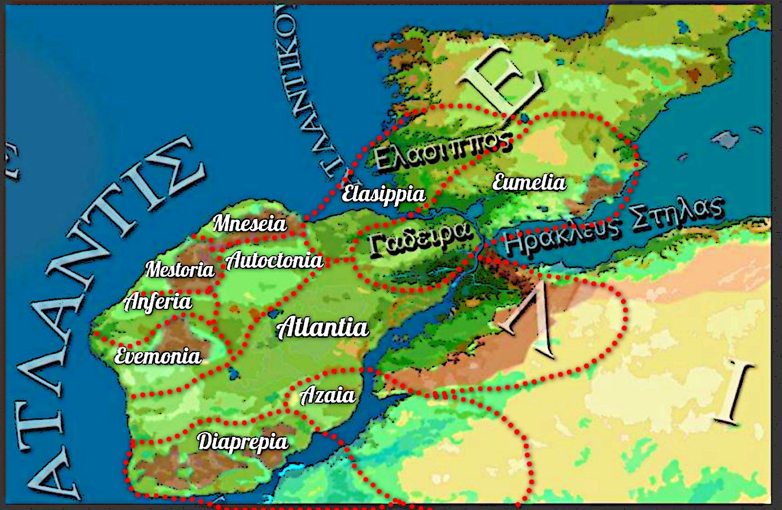 Reinos de la Isla Atlántida descrita en el Timeo y Critias de Platón - Reconstrucción Paleogeográfica basada solo en la descripción que los sacerdotes egipcios hicieron de la misma ante Solón, no en datos geológicos.