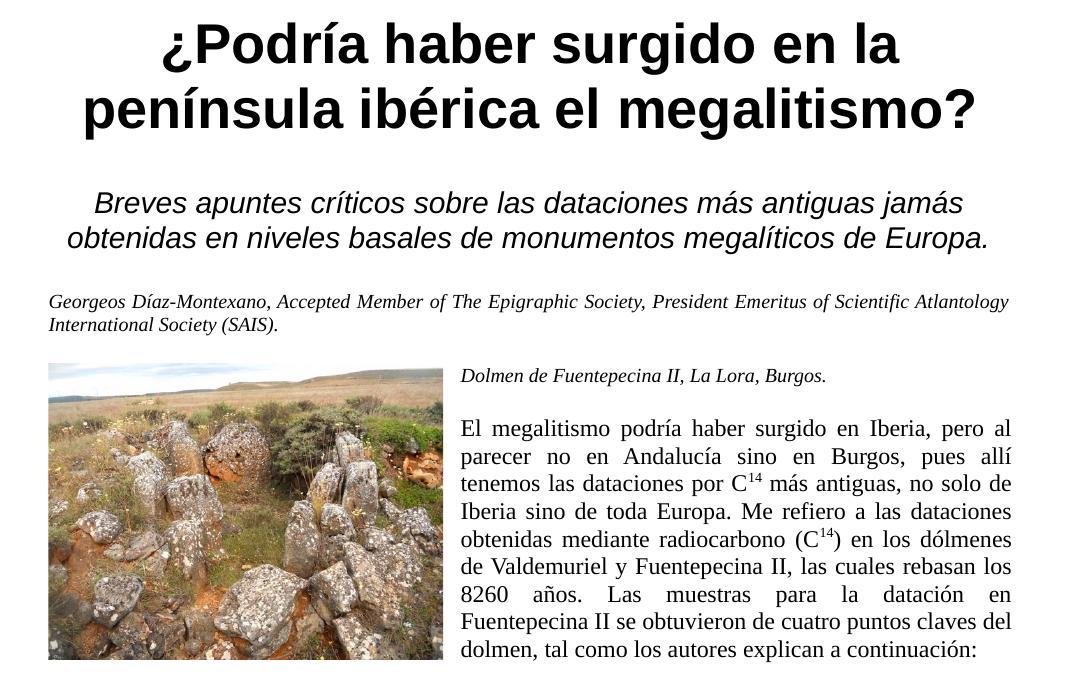 Podría haber surgido en la península ibérica el megalitismo - Georgeos Díaz-Montexano
