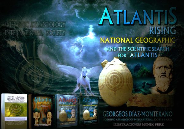 "Póster promocional realizado por la destacada artista visual argentina para varios libros del escritor y atlantólogo español, Georgeos Díaz-Montexano, usados como guión en el documental, ""El resurgir de la Atlántida"" (Atlantis Rising) de James Cameron, Simcha Jacobovici, et alii, para National Geographic, 2017. En el centro de póster, vasija hallada en Jaén con símbolo como el de la capital sagrada de Atlantis, similar a de la planta urbanística de la ciudadela de Marroquíes Bajos."
