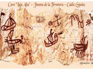 """Cave """"Laja Alta"""" - Jimena de la Frontera - Cádiz (Spain) 2016 - calcos fidedignos realizados para Georgeos Díaz Montexano y documental de National Geographic, 2016, """"Atlantis Rising"""": Autora: Monik Perz (www.MonikPerz.com)."""