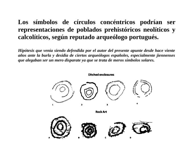 Los símbolos de círculos concéntricos podrían ser representaciones de poblados prehistóricos neolíticos y calcolíticos, según reputado arqueólogo portugués.
