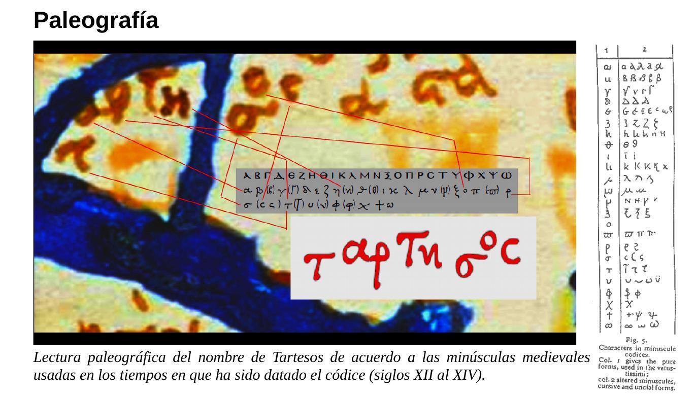 """Ταρτησος (Tartesos) en un mapa de tradición ptolemea en el documental """"Atlantis Rising"""" de James Cameron."""