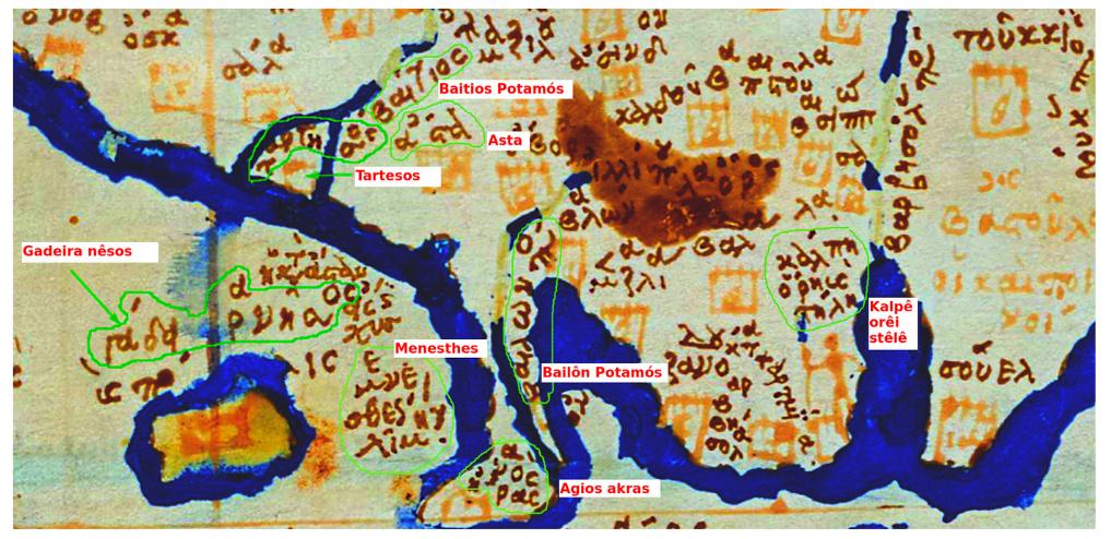 """Ταρτησος (Tartesos) en un mapa de tradición ptolemea en el documental """"Atlantis Rising"""" de James Cameron 2"""