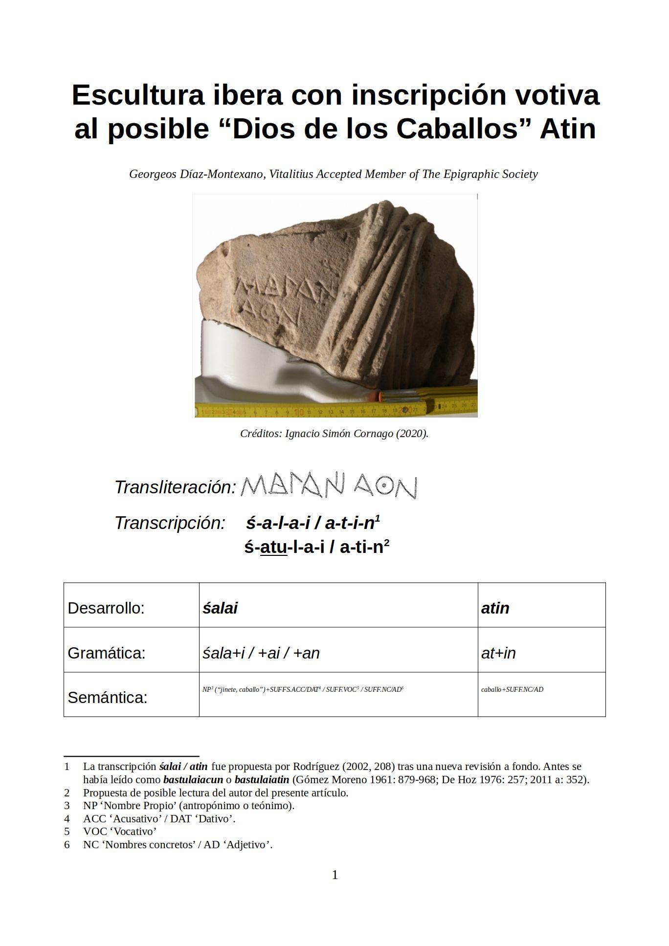 """Escultura ibera con inscripción votiva al posible """"Dios de los Caballos"""" Atin Georgeos Díaz-Montexano, Vitalititus Accepted Member of The Epigraphic Society"""