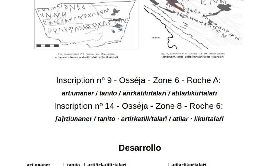 Dos Inscripciones ibéricas de Osséja  (Languedoc-Rosellón, Francia) como posible proclamación de victoria contra bandidos o pasaje heroico mitológico.