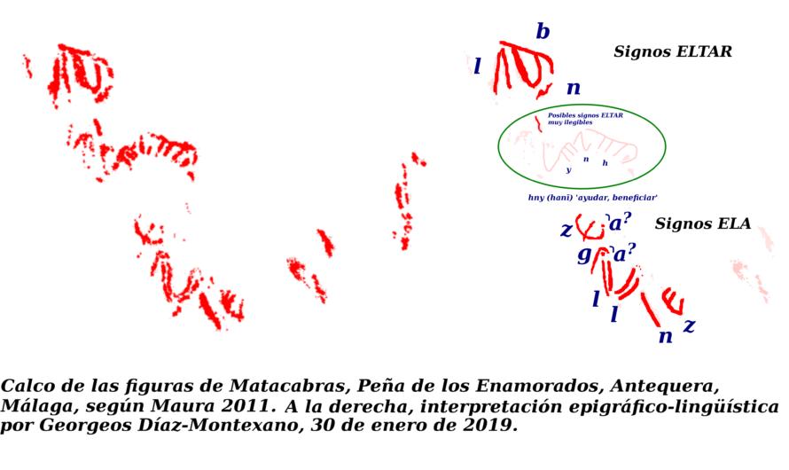 """Inscripciones en proto-escritura lineal atlántica (ELA) y proto-escritura lineal pre-tartessia (ELTAR) datadas en unos 5900 años en el abrigo rupestre de """"Matacabras"""" de la Peña de los Enamorados, Antequera, Málaga."""