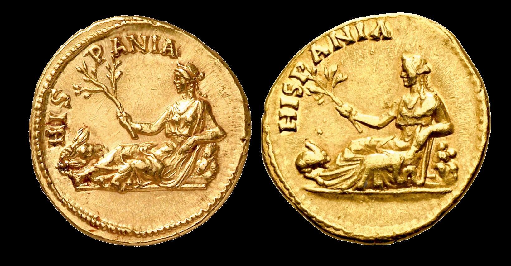 Moneda Romana de Hispania de tiempos del emperador Adriano.