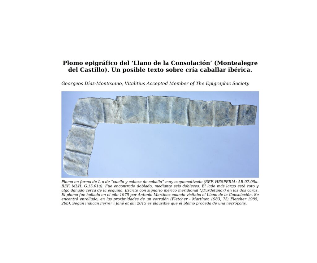Plomo epigráfico del 'Llano de la Consolación' (Montealegre del Castillo). Un posible texto sobre cría caballar ibérica.