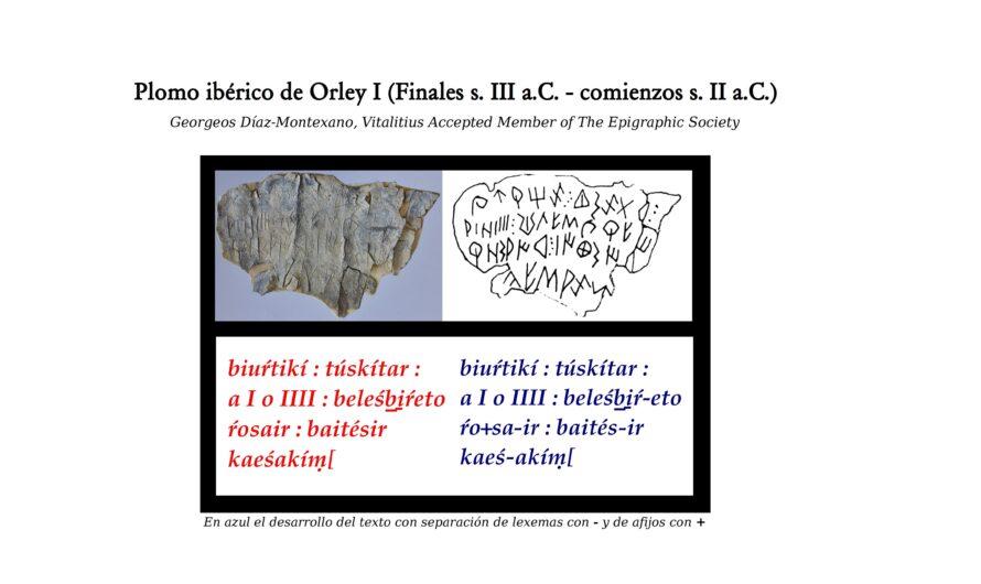 Plomo ibérico de Orley I (Finales s. III a.C. – comienzos s. II a.C.).