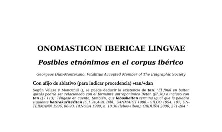 ONOMASTICON IBERICAE LINGVAE - Posibles etnónimos en el corpus ibérico.