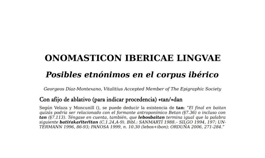 ONOMASTICON IBERICAE LINGVAE – Posibles etnónimos en el corpus ibérico.