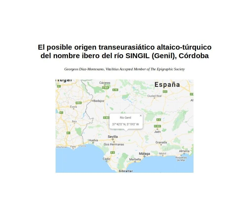 El posible origen transeurasiático altaico-túrquico del nombre ibero del río SINGIL (Genil), Córdoba.