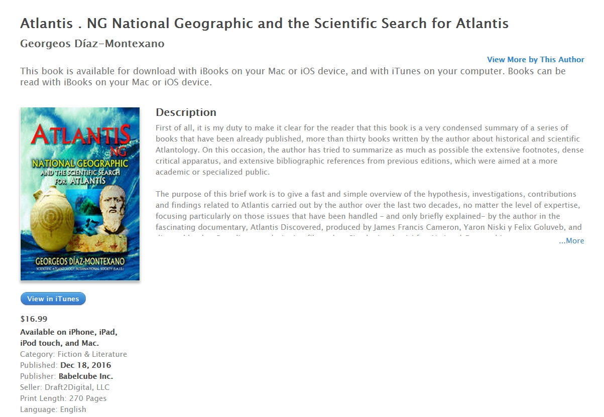http://www.atlantisng.com/en/English-books/ Atlantis . NG National Geographic and the Scientific Search for Atlantis, by Georgeos D�az-Montexano