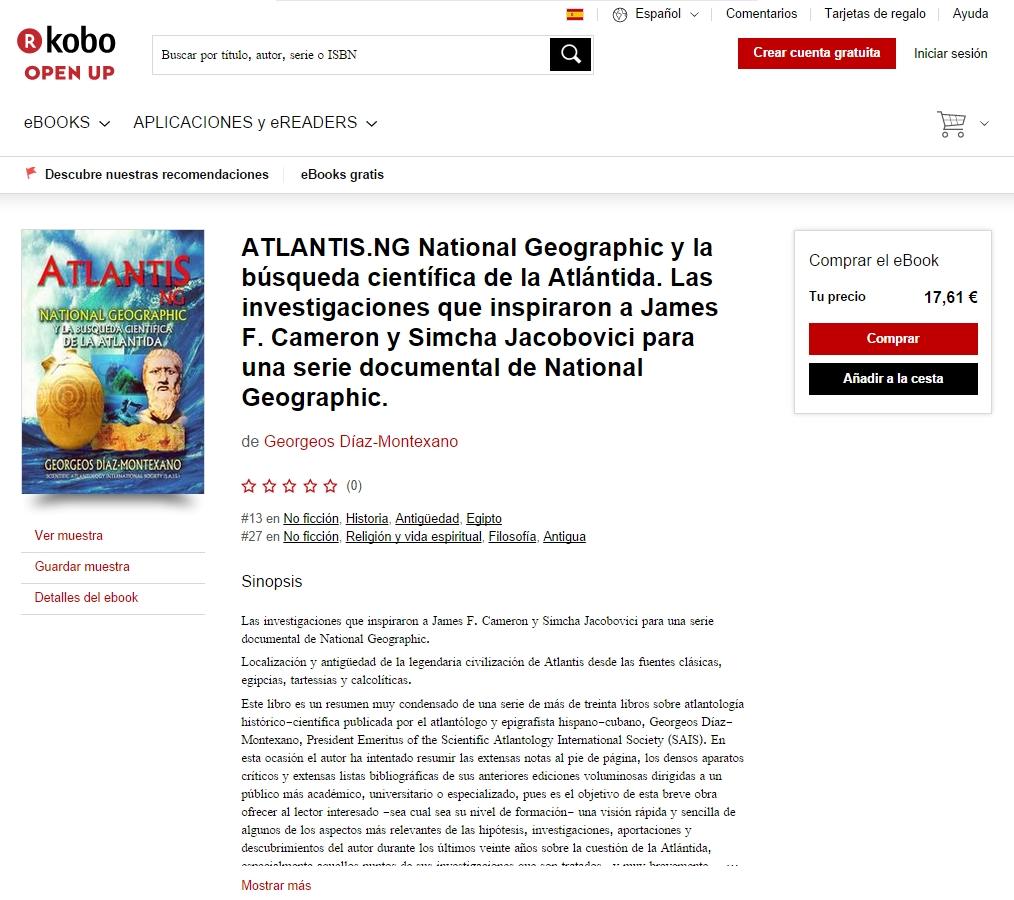 http://www.atlantisng.com Libro de Georgeos Diaz-Montexano: ATLANTIS.NG National Geographic y la busqueda cientifica de la Atlantida. Las investigaciones que inspiraron a James F. Cameron y Simcha Jacobovici para la parte de Iberia y el Atlantico en el documental ATLANTIS RISING, 2016-2017.